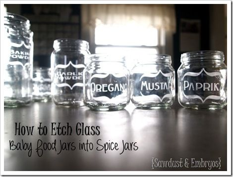 Etching Baby Food Jars for Spices