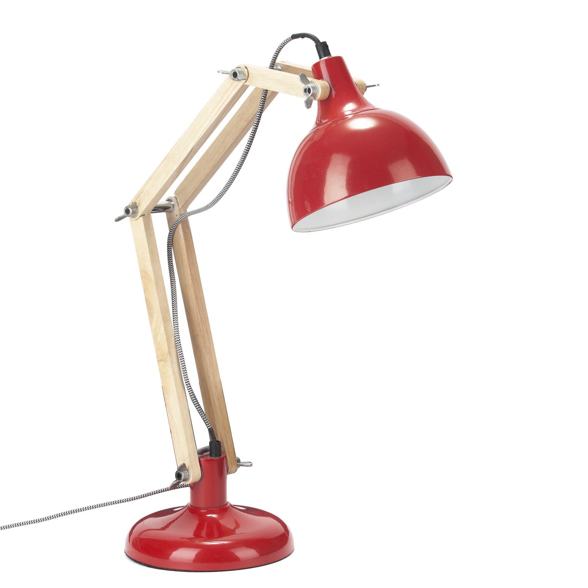 Lampe De Bureau Bois Acier Rouge H65cm Ombra Les Lampes A Poser
