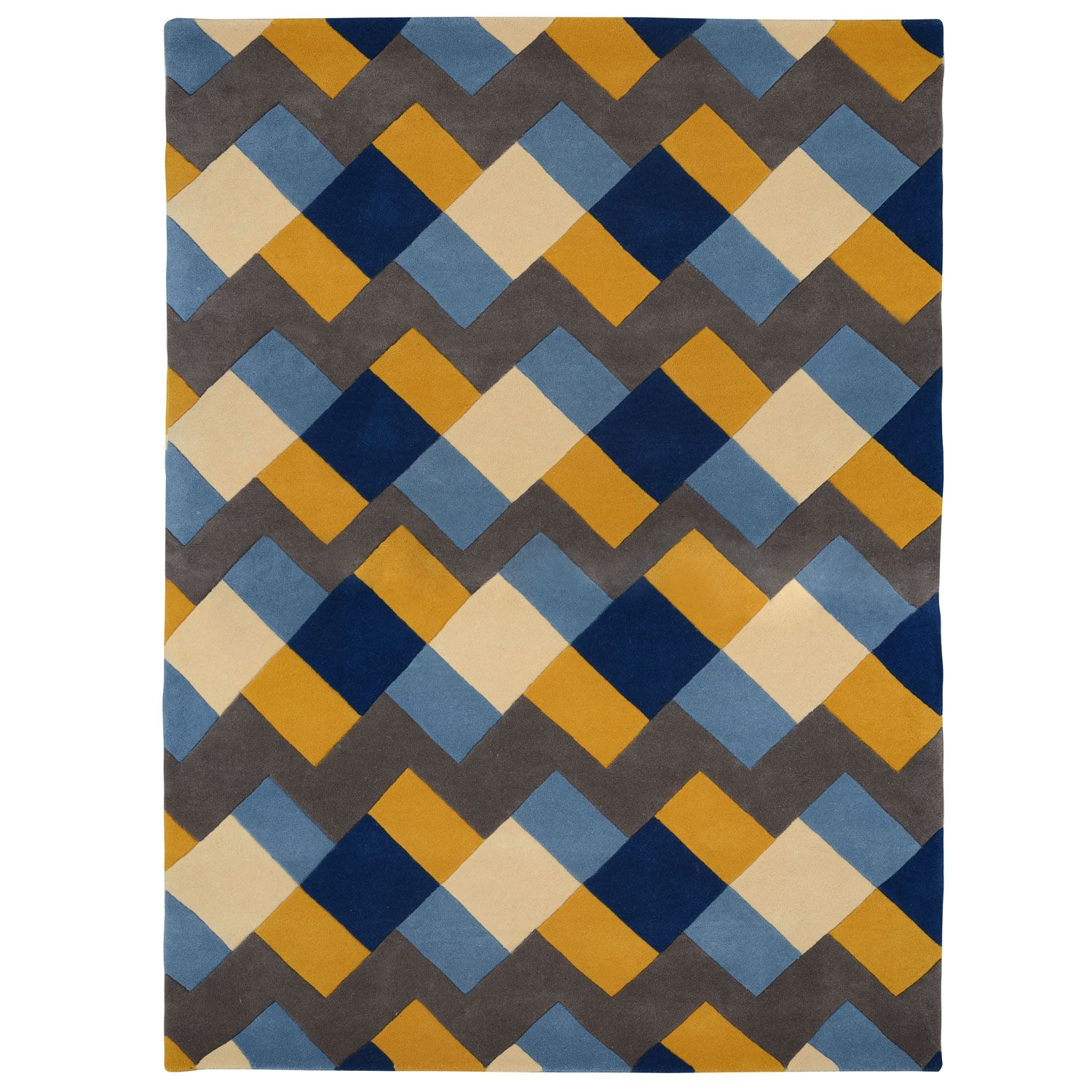 Weft Yellow And Blue Rug By Kangan Arora Patterned Rugs Rugs