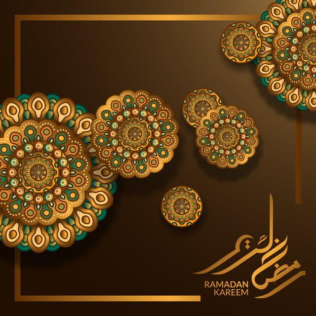 ذهبية فاخرة دائرة هندسية نمط عزر ل رمضان كريم مبارك الديكور Ornament Card Mandala Design Tarpaulin Design
