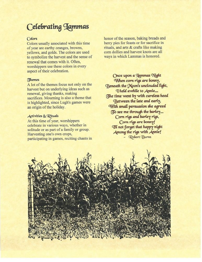 Book of Shadows Spell Pages ** Celebrating Lammas ** Wicca ...