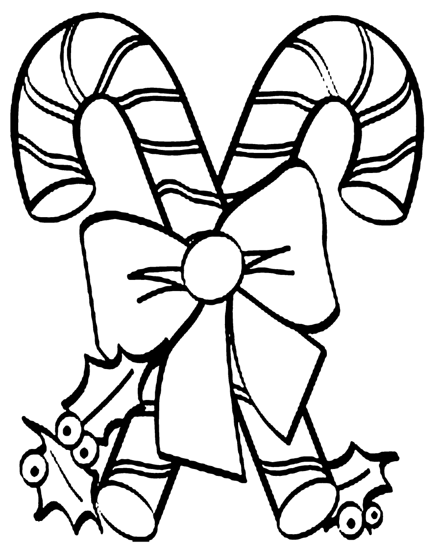 Free Candy Cane Coloring Pages