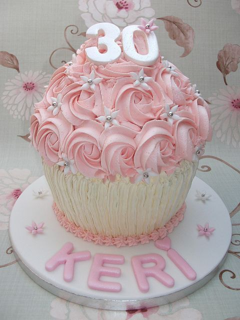 30th Birthday Giant Cupcake by Little Home Bakery Julie Rogers