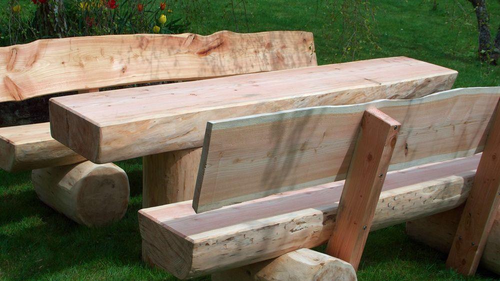 Gartenbank Massiv Baumstamm Holz Sitzgruppe Garten Feuerstelle