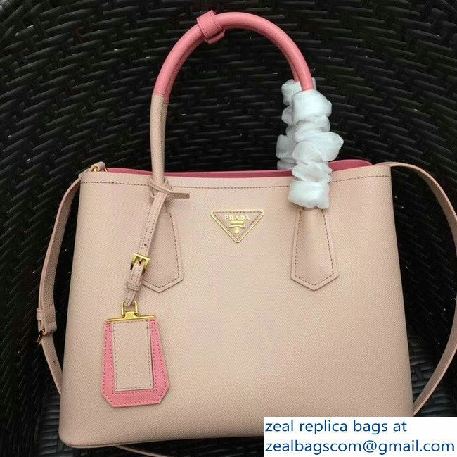 0253569b3946 ... cheap prada two tone handles saffiano double leather bag 1bg775 nude  pink 2018 b75a6 5b0aa