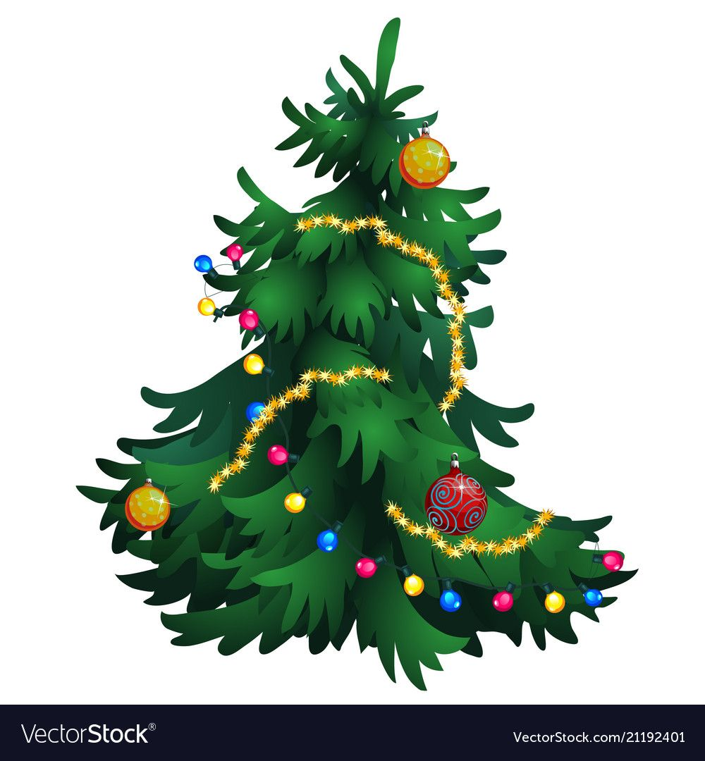 Cartoon Christmas Tree With Decorations Isolated Vector Image On Vectorstock In 2020 Cartoon Christmas Tree Christmas Tree Decorations Christmas Tree Ornaments