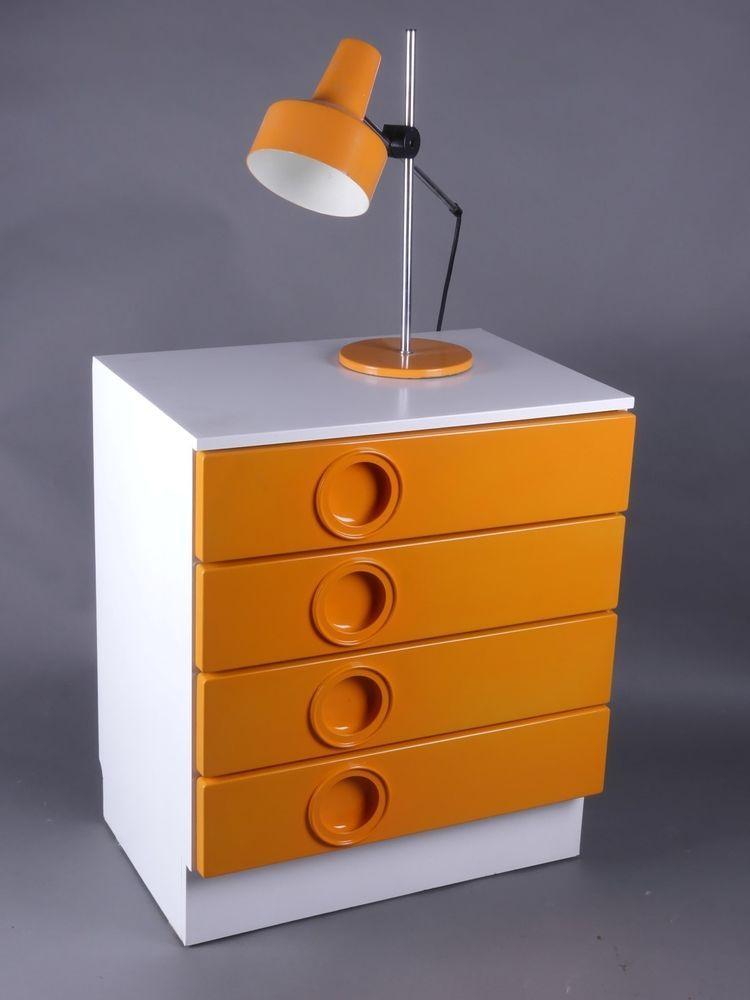 Seventies Design Drawers Chest Kommode Schubladen Schrank Weiss Orange 70er 70s Home Decor Retro Furniture Home Decor