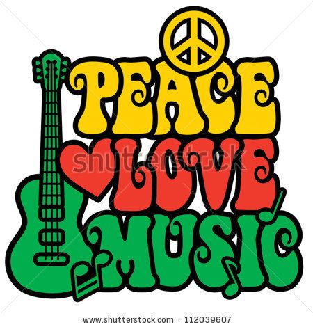 Peace And Love Symbol Reggae Peace Love Music Design With Guitar