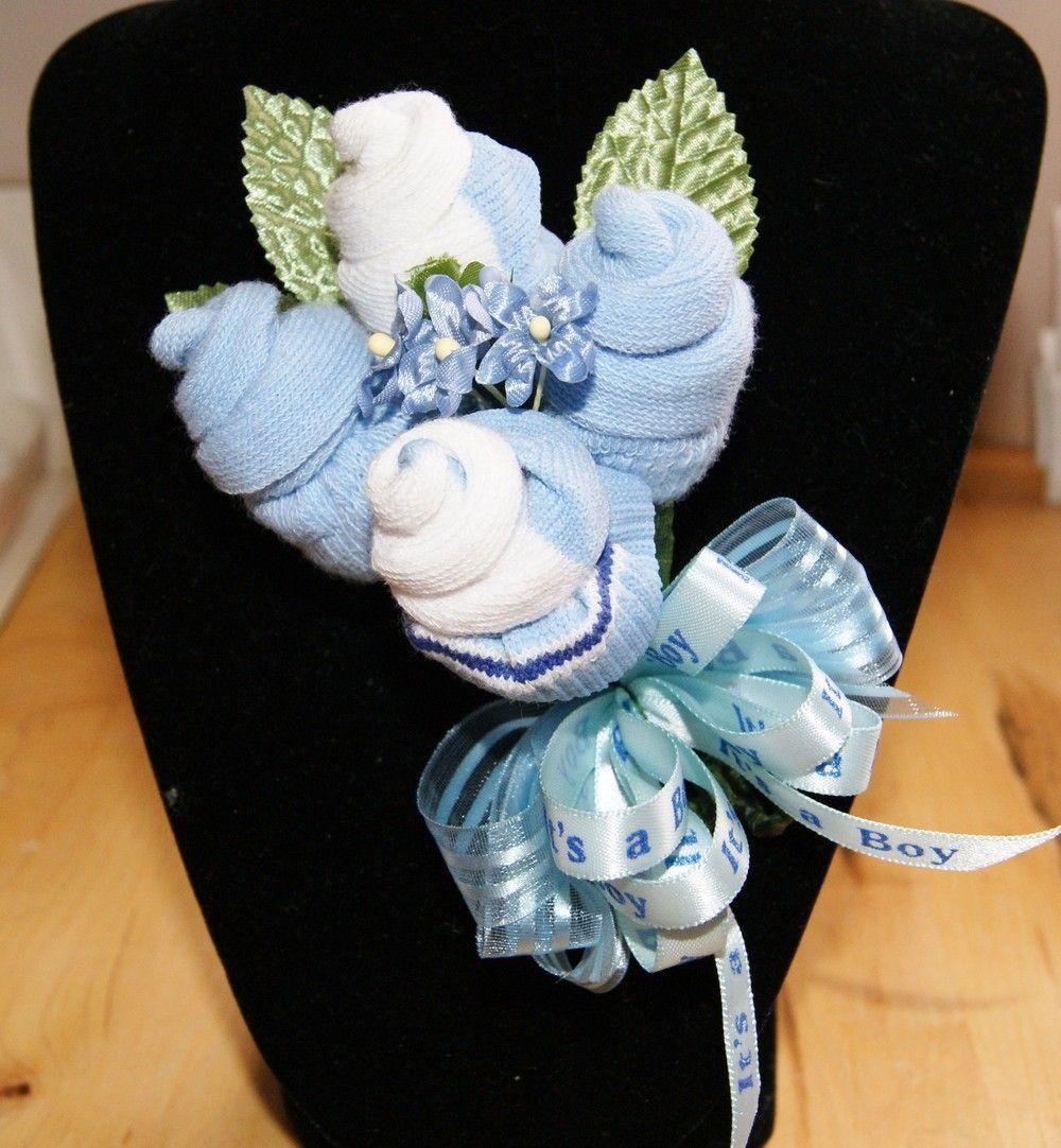 Blue Boy Baby Sock Corsage 9 00 Via Etsy Babyshower