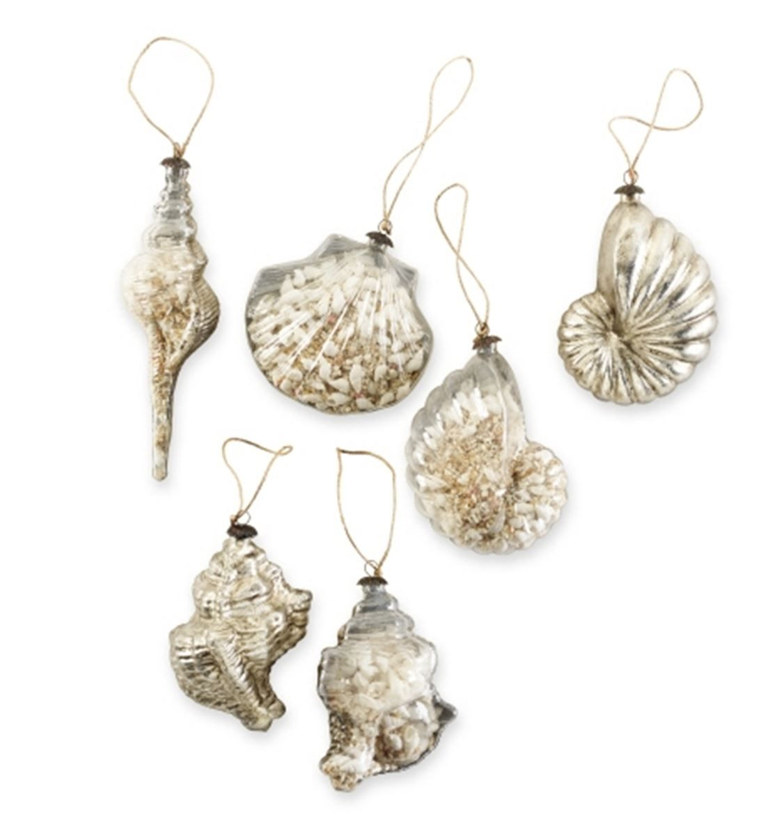 Shell Filled Glass Ornament Choice Of 4 At Seasideinspired.com Beach Ocean Home Decor