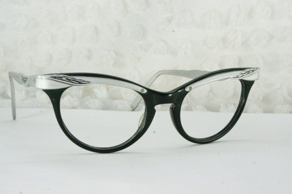 53331a5d7b8 Vintage 50s Cat Eye Glasses 1960s Womens Eyeglasses Two Tone Black Horn Rim  Silver Molded Aluminum Browline NOS 48 20 Marine Optical Frame