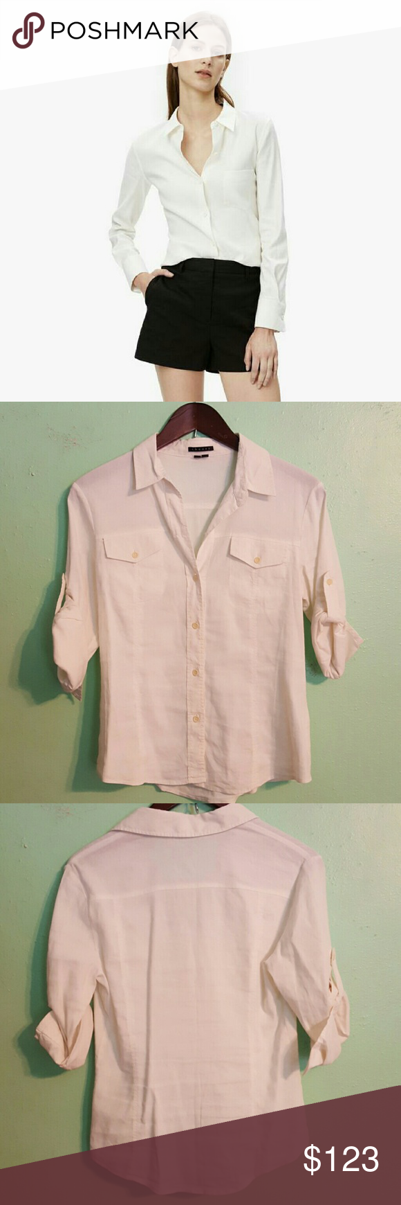 Theory white linen blend button down EUC. Theory white linen button down. You can either cuff the sleeves or wear them long. Double breasted front pockets. 62% linen 36% viscose 2% spandex. Dry clean only. Theory Tops Button Down Shirts
