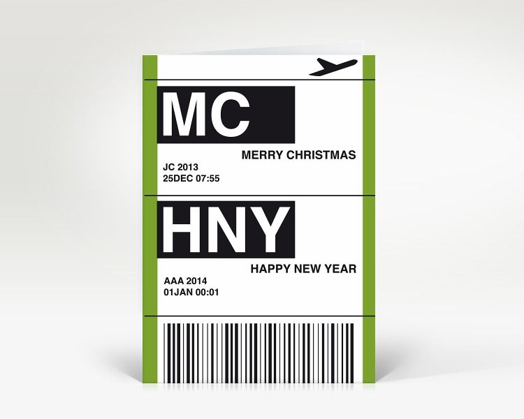 Weihnachtskarte flugticket gr n designer weihnachtskarte - Designer weihnachtskarten ...