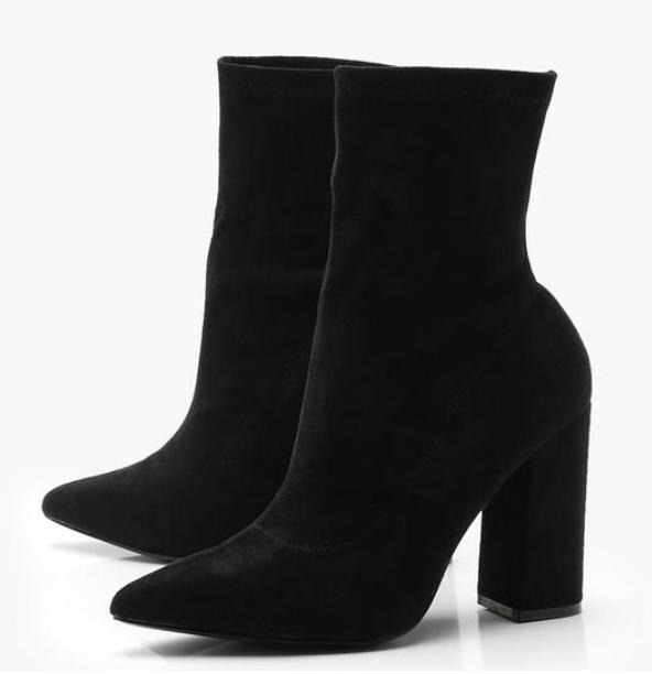 Wide Width Block Heel Sock Boots