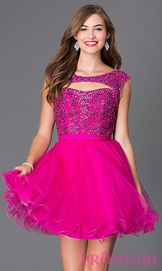 Short Open Back Babydoll Dress by Mori Lee at PromGirl.com ...