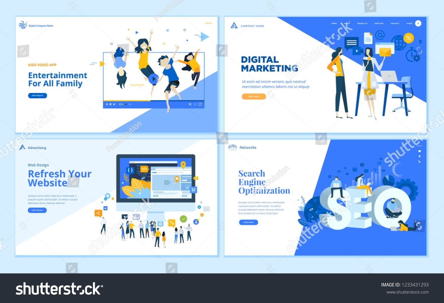 Set Of Flat Design Web Page Templates Of Seo Web Development Digital Marketing Family Entertainment Modern Vecto In 2020 Webpage Design Webpage Template Web Design