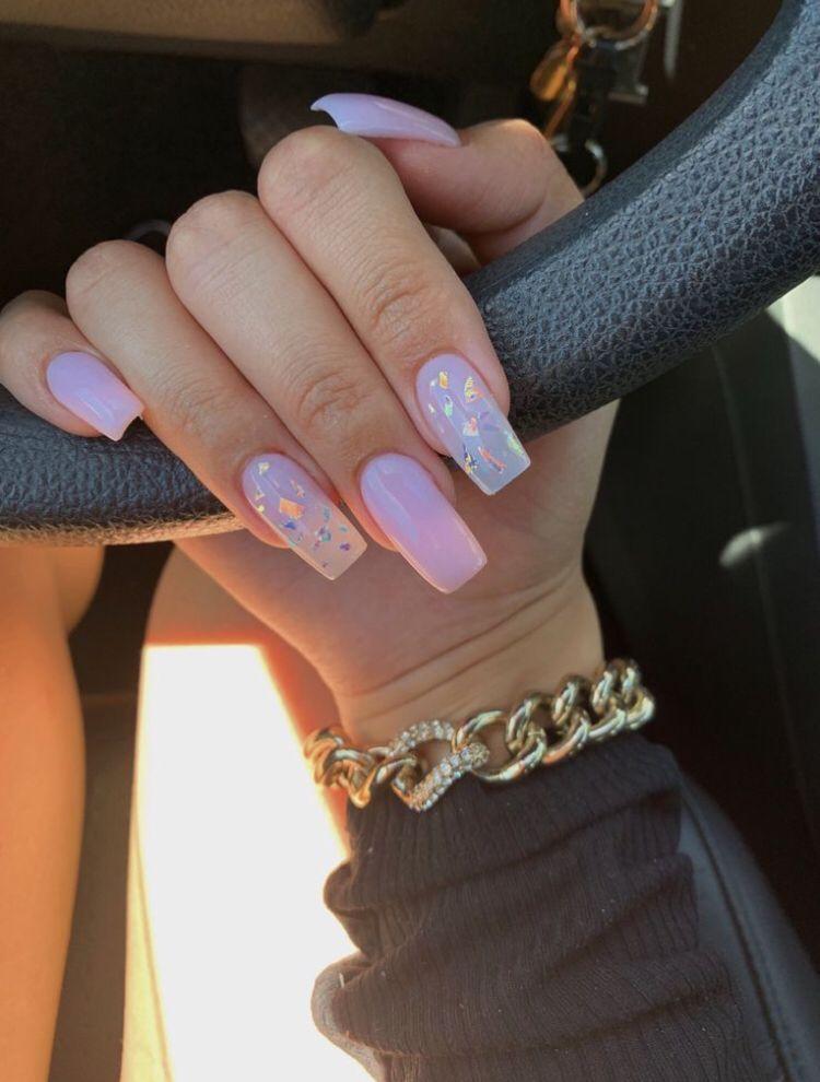 Star Nail Design On Glossy Pink Nail Polish Pink Acrylic Nails Pretty Acrylic Nails Best Acrylic Nails