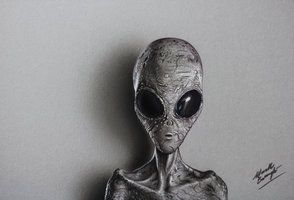 A Grey Alien - drawing by marcellobarenghi