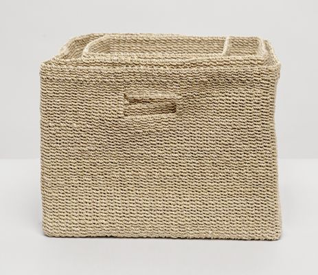 """10""""L x 10""""W x 12""""H, 14""""L x 14""""W x 12""""H, 16""""L x 16""""W x 12""""H  You'll want one of these for every room of the house. This set of soft, square crates, woven from natural abaca fiber, will turn you into the best kind of basket case. Perfect for towels, toys, or trinkets, the Lindon baskets come in four rich colors. Sold as a set."""