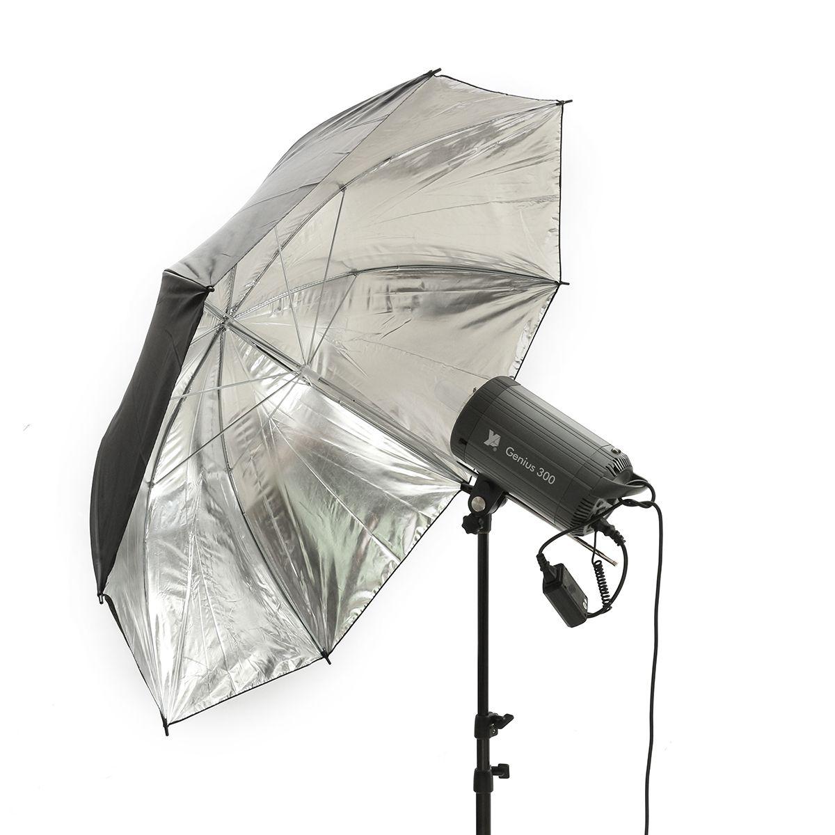 43 Inch Paraguas Reflectante de Plata Negra de 110 cm para PhotoLoft Studio Softbox