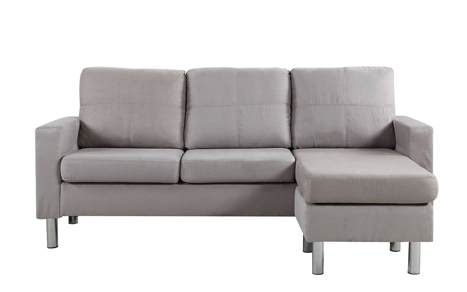 Metro Modern Reversible Small Microfiber Sectional Sofa with Chaise ...