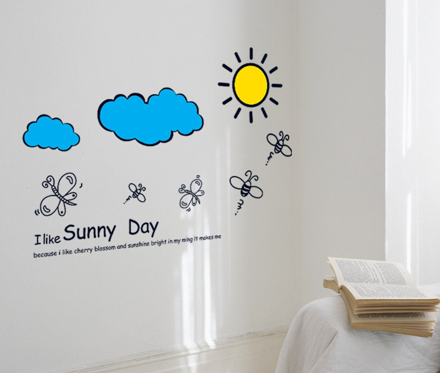 Modern Wall Decals Yyone I Like Sunny Day Quote Sun Cloud Dragonfly Bee Wall Decor Decal For Home Wall Stickers Kids Wall Decor Stickers Wall Decor Decals