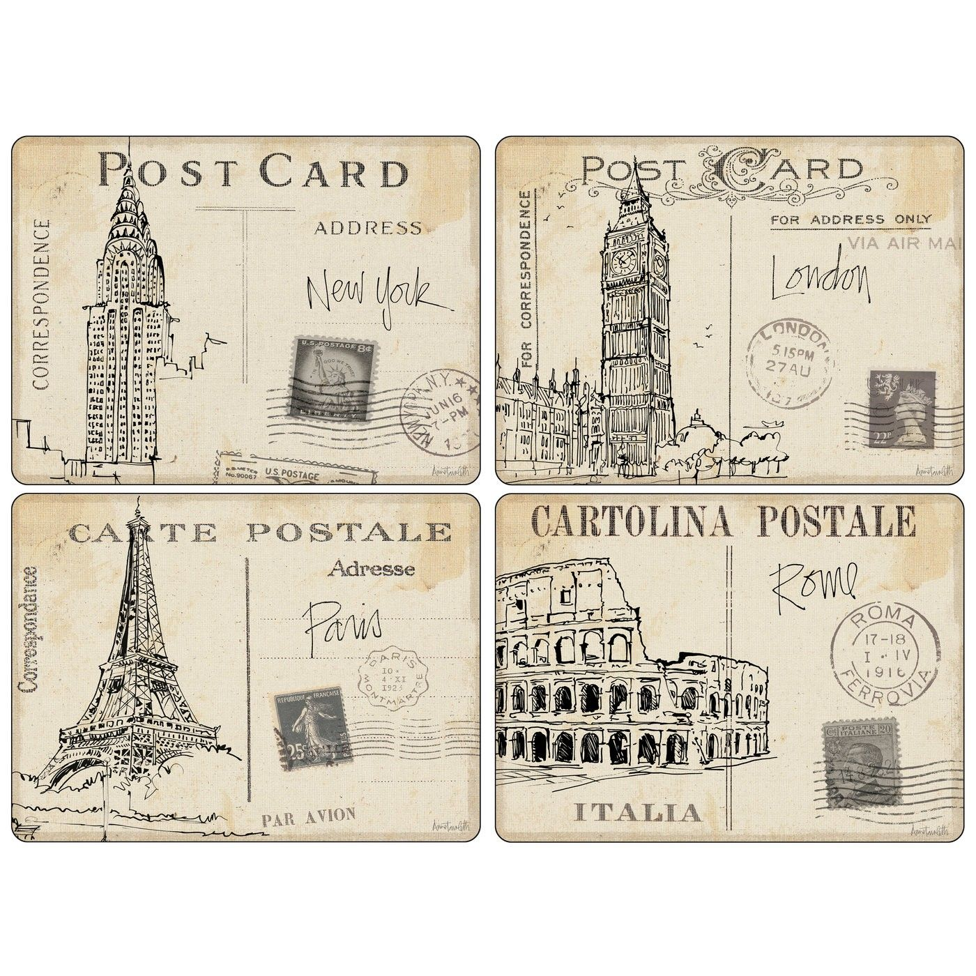 Pimpernel Postcard Sketches Large Placemats Set of 4 | Pretty Place ...