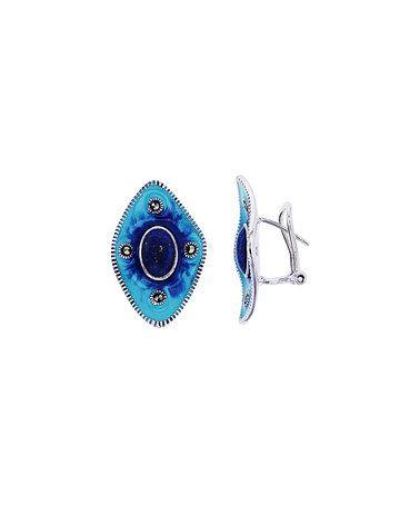 Marcasite & Lapis Marquis Huggie Earrings #zulily #zulilyfinds