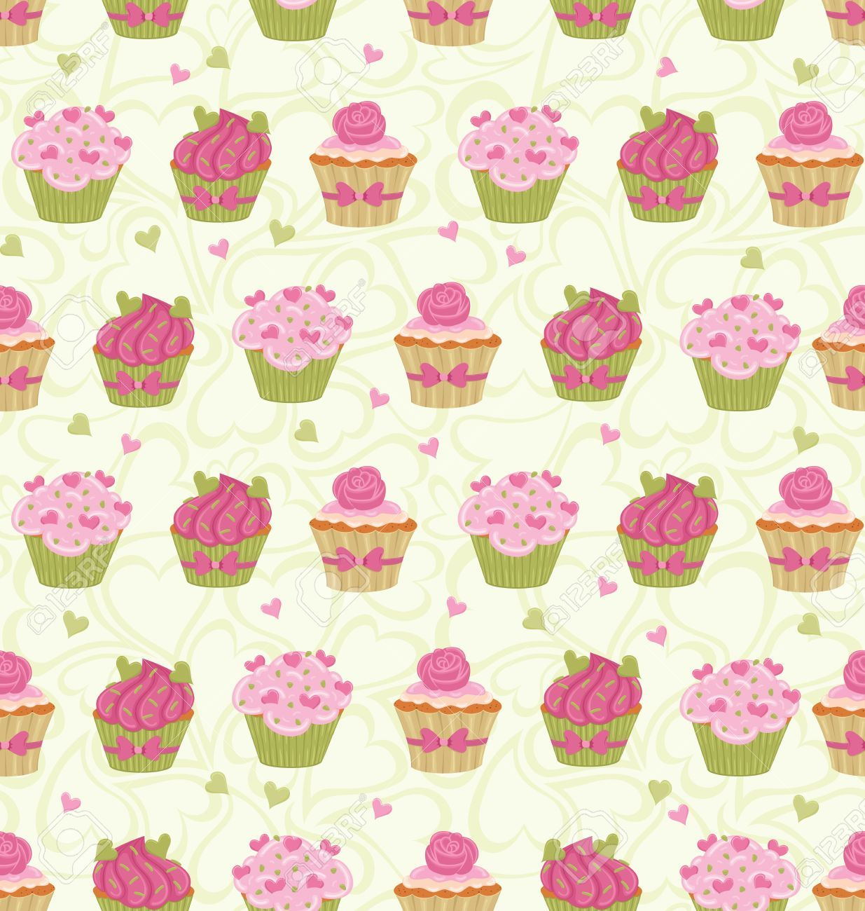 Cupcake Wallpaper: 17766358-Seamless-pattern-made-of-cupcakes-and-hearts