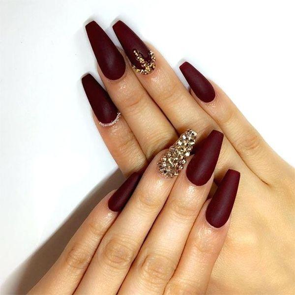 Stunning Maroon Gold Nail Art Ideas 2018 Knowledge Regarding Hairstyles Fashion Maroon Nails Burgundy Matte Nails Burgundy Nails