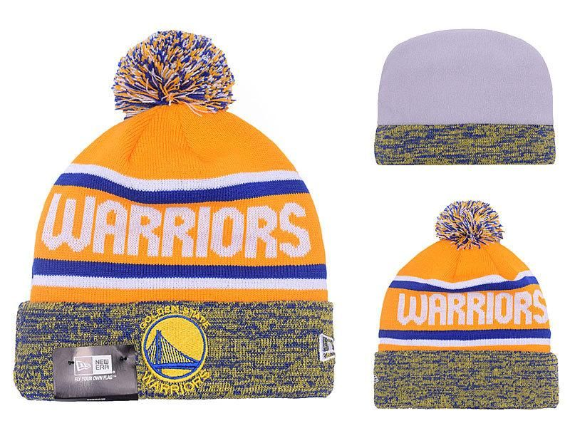 a0120814 Men's / Women's Golden State Warriors New Era NBA Hardwood Classics Marled  Cuff Pom Pom Beanie Hat - Gold