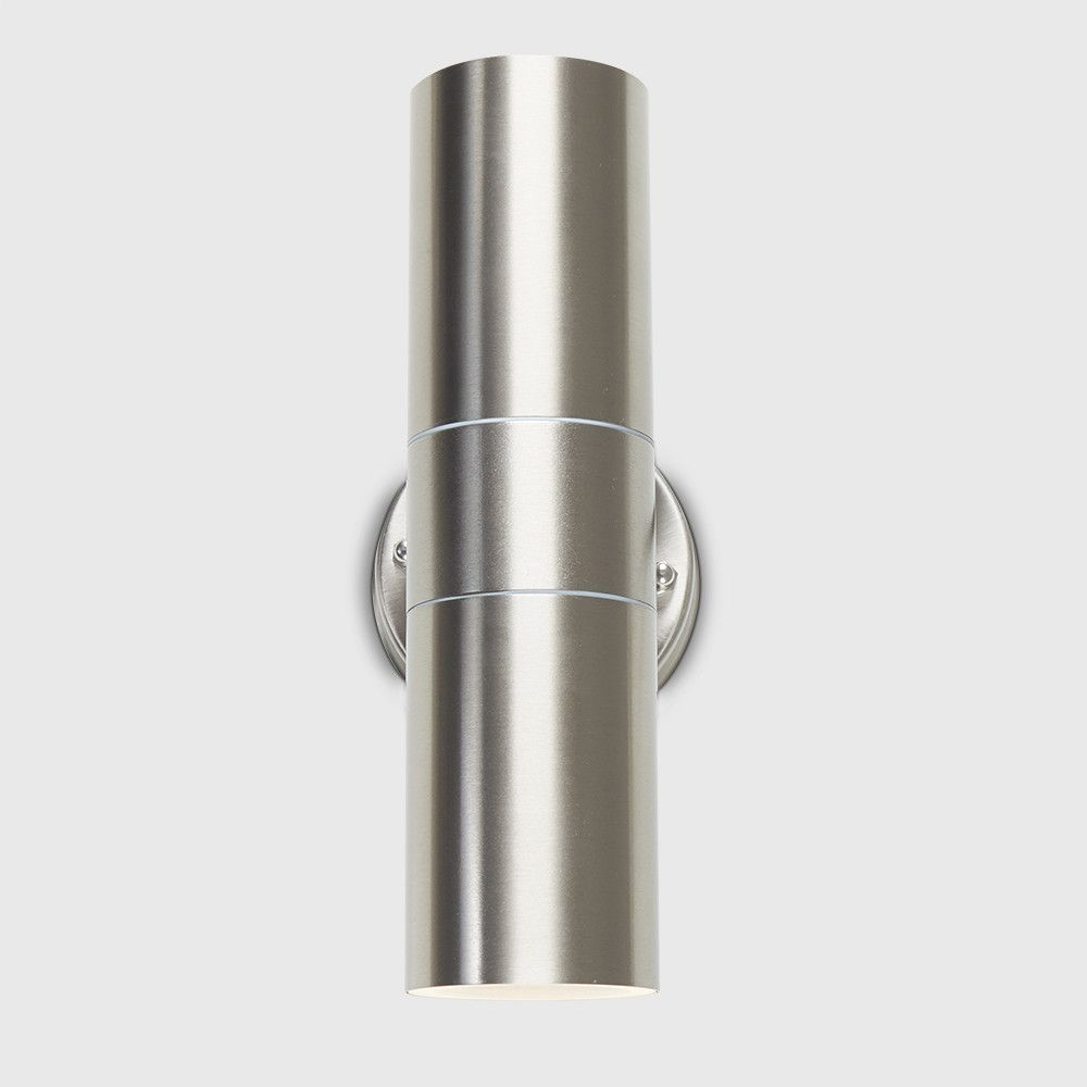 Ip44 Outdoor Up Down Wall Light In Brushed Chrome 2019