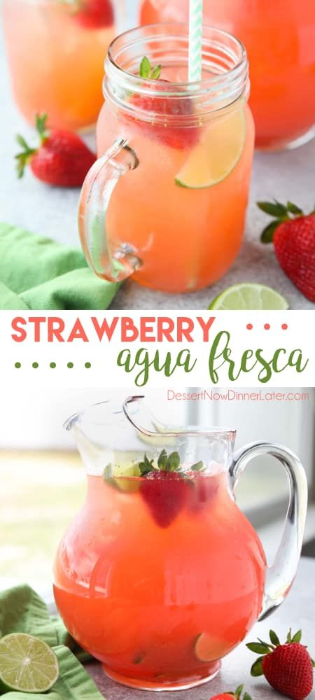 Strawberry Agua Fresca (agua fresca de fresa) is an easy Mexican drink of refres…