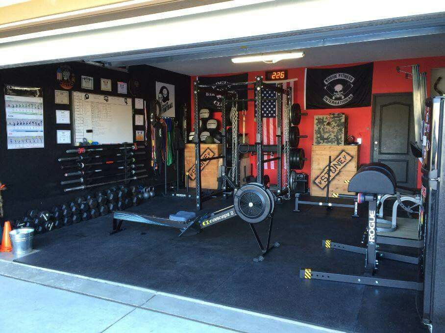 Awesome rogue garage gym. courtesy andre castro. nerdy and fit