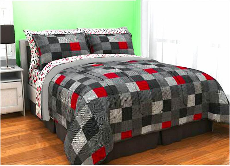 Minecraft Cave Red Black Grey Geo Block Teen Boy Bedding Twin XL Full Queen Comforter Bed