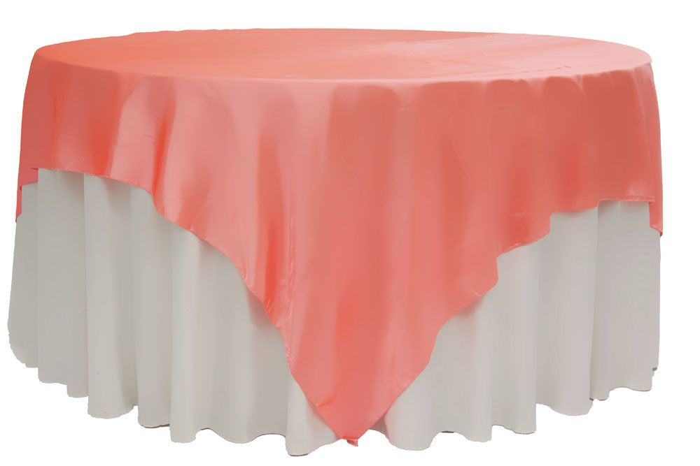 Square 90 X90 Satin Table Overlay Coral Table Overlays