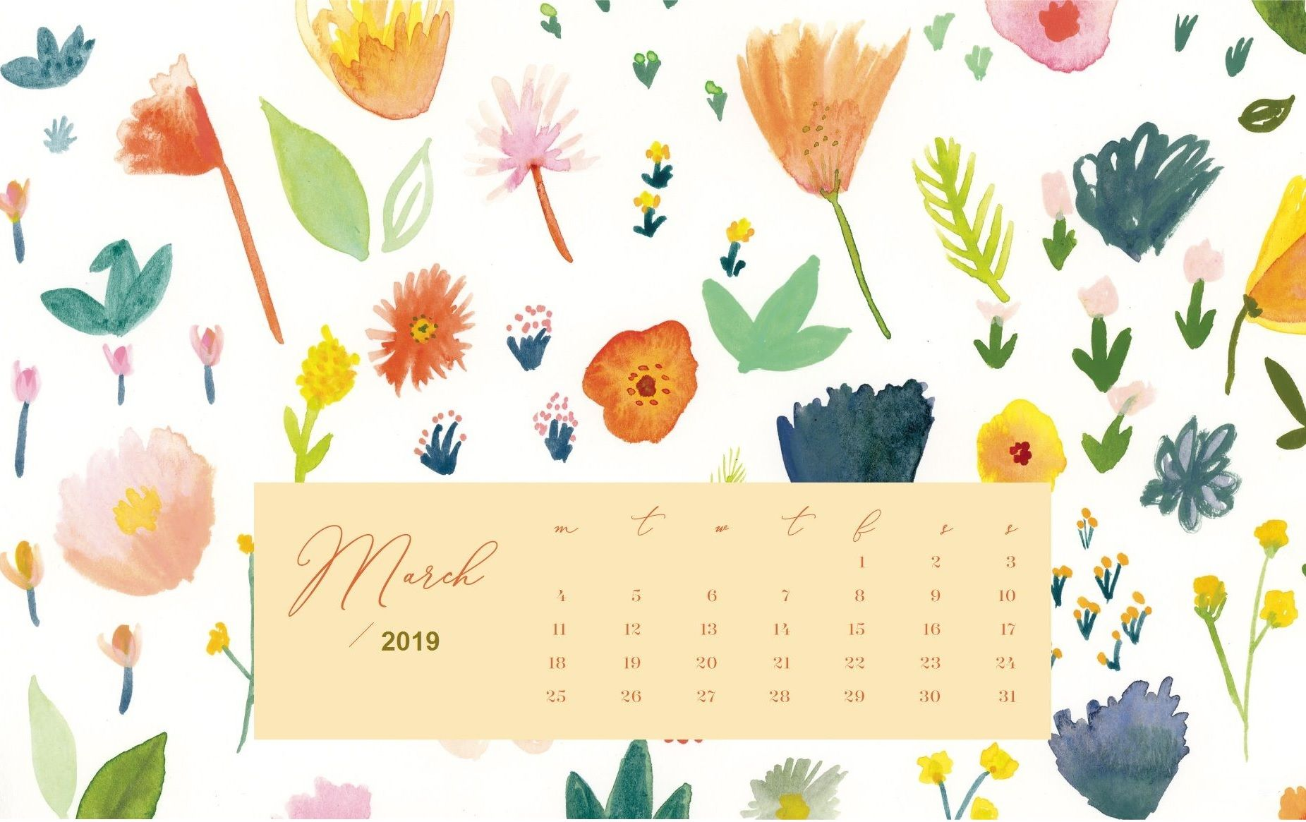 March 2019 Background Screensaver Calendar Wallpaper Desktop Wallpaper Calendar Floral Wallpaper