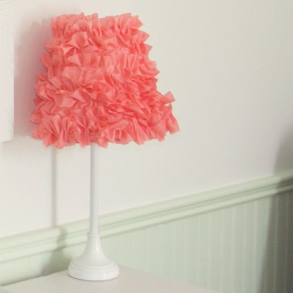 Coral lamp shade make my own oh baby pinterest ruffle lamp diy ruffle lamp shade for olivias room mozeypictures Gallery