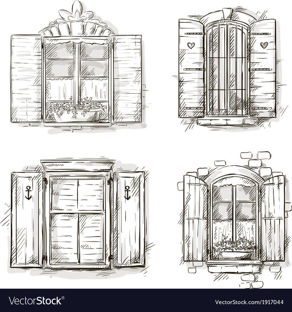 Vintage window hand drawn set of drawings vector image on