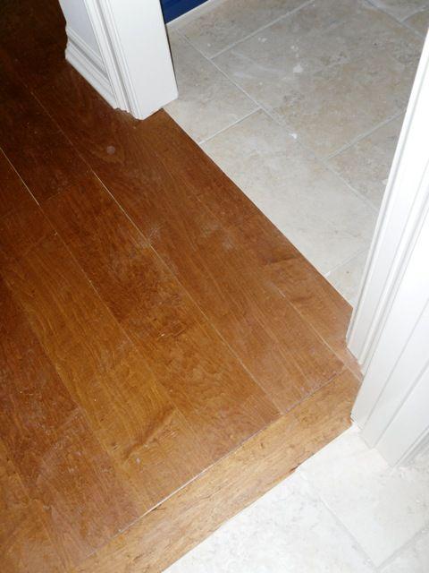 Hardwood Floor Meets Tile For My Great Room Flooring Trendy Kitchen Tile Tile Floor