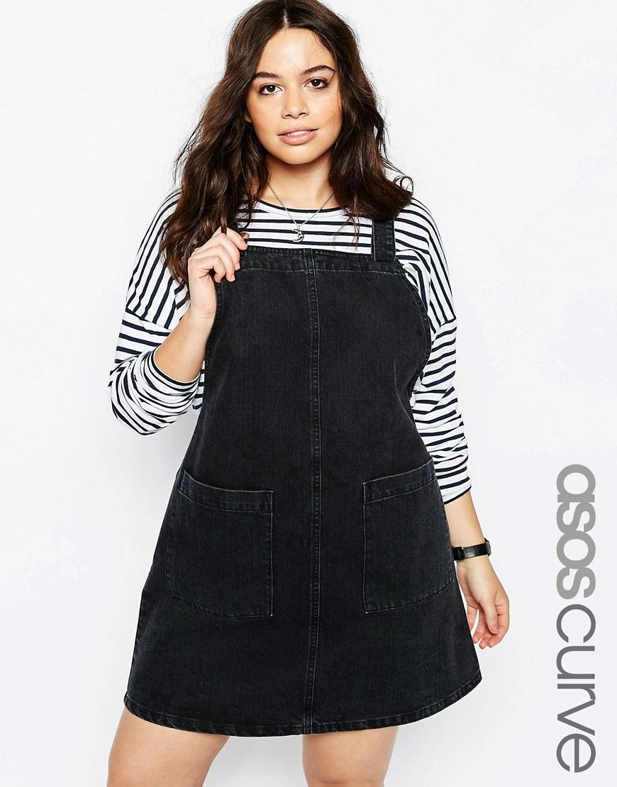 c3bbb1f4e5 Image 1 of ASOS CURVE Denim Open Back Pinafore Dress In Washed Black