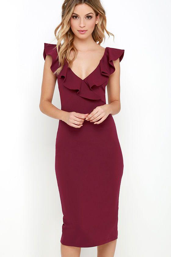 Ready to Ruffle Wine Red Midi Dress | Bodycon midi skirt, Midi ...