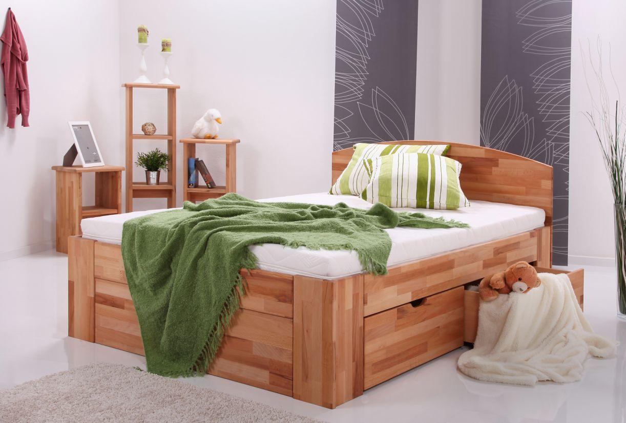 LIBBY Massivholzbett In Stabbuche Und Fichte; Bett Mit Bettkasten Buche 180  X 200 | Stabbuche