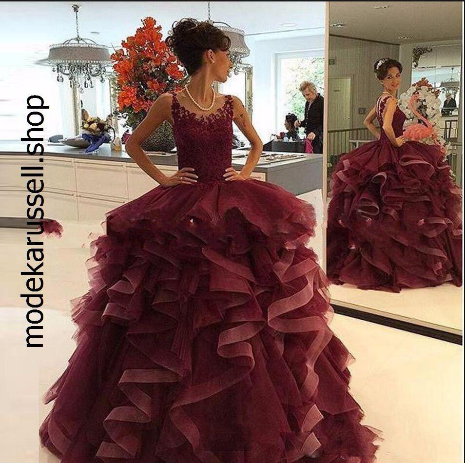 Elegante Rüschen Spitze Abendkleid