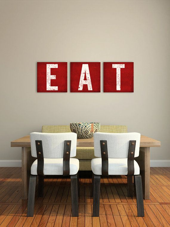 any color EAT - Custom KITCHEN Decor Canvas Wall Art 15 inch thick