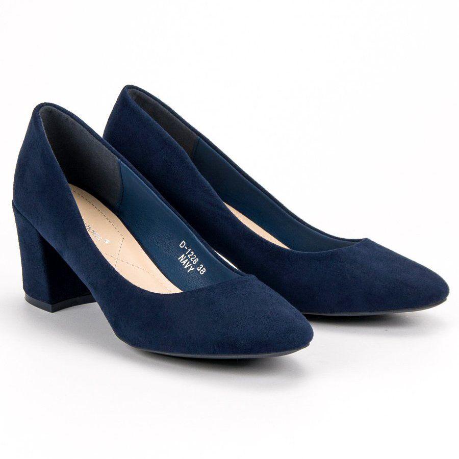 Czolenka Damskie Idealshoes Ideal Shoes Granatowe Czolenka Na Slupku Heels Kitten Heels Shoes