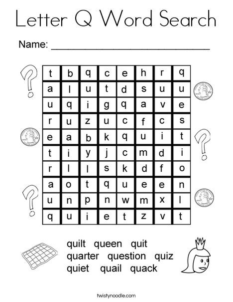letter q word search coloring page twisty noodle letter coloring