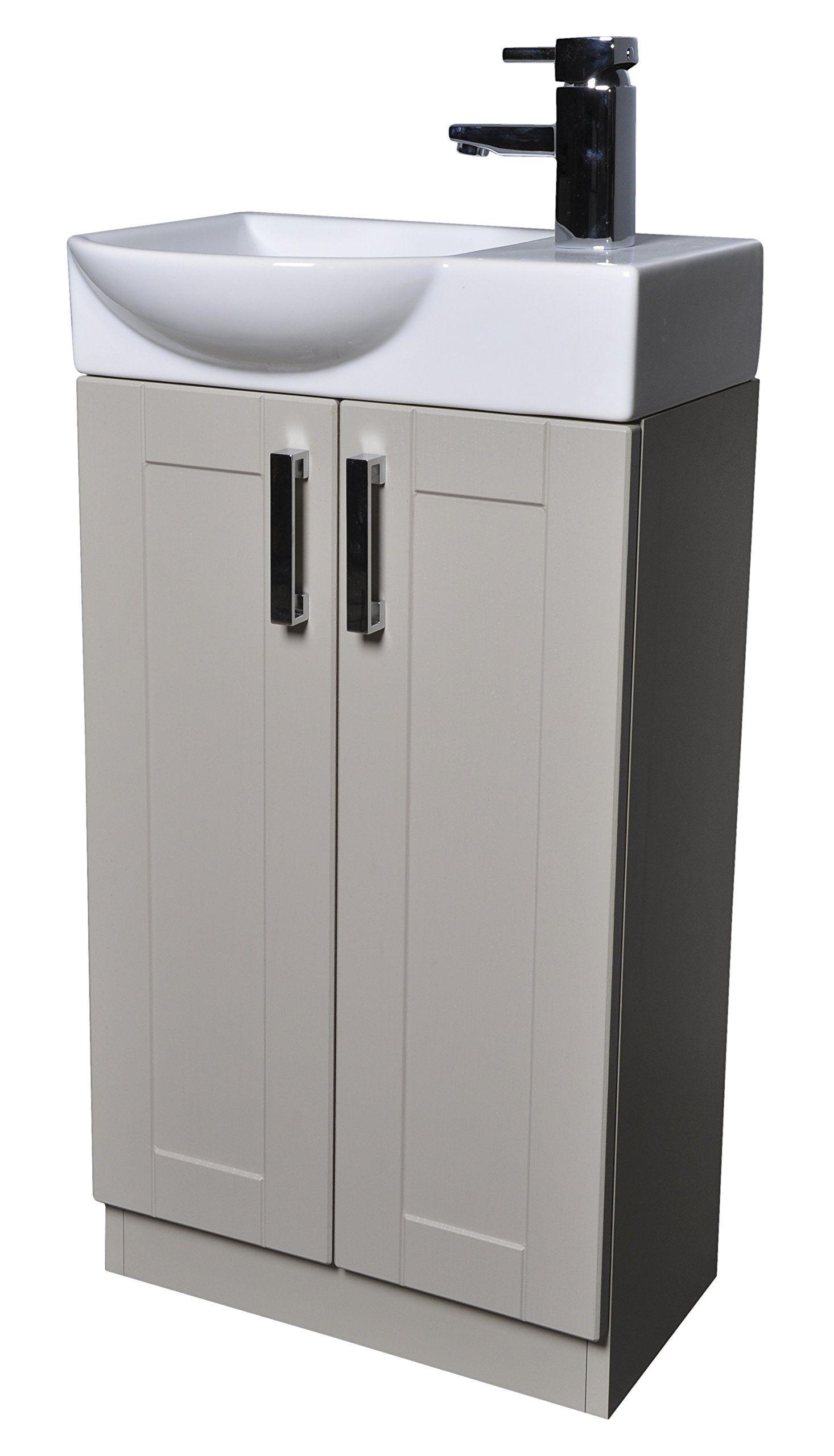 Grey Green Shaker 450mm Cloakroom Bathroom Vanity Unit Curved Basin Sink  Tap   Left Hand BasinGrey Green Shaker 450mm Cloakroom Bathroom Vanity Unit Curved  . Sink With Vanity Unit. Home Design Ideas