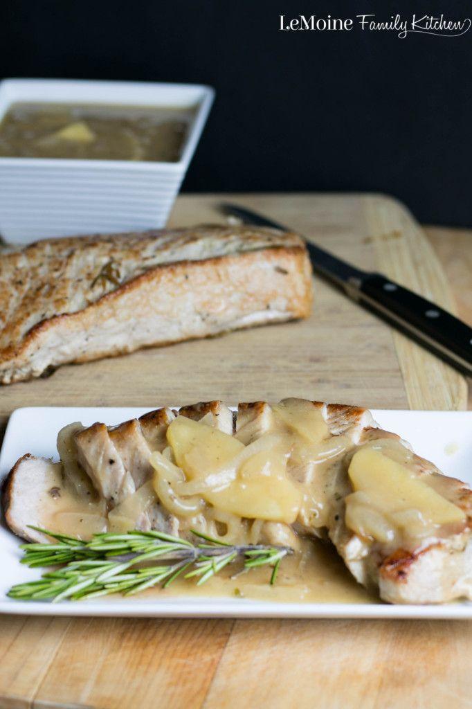 Pork Tenderloin with an Apple-Onion Gravy | LeMoine Family Kitchen .  Simply seasoned pork tenderloin slathered in a delicious apple and onion gravy! SO GOOD!
