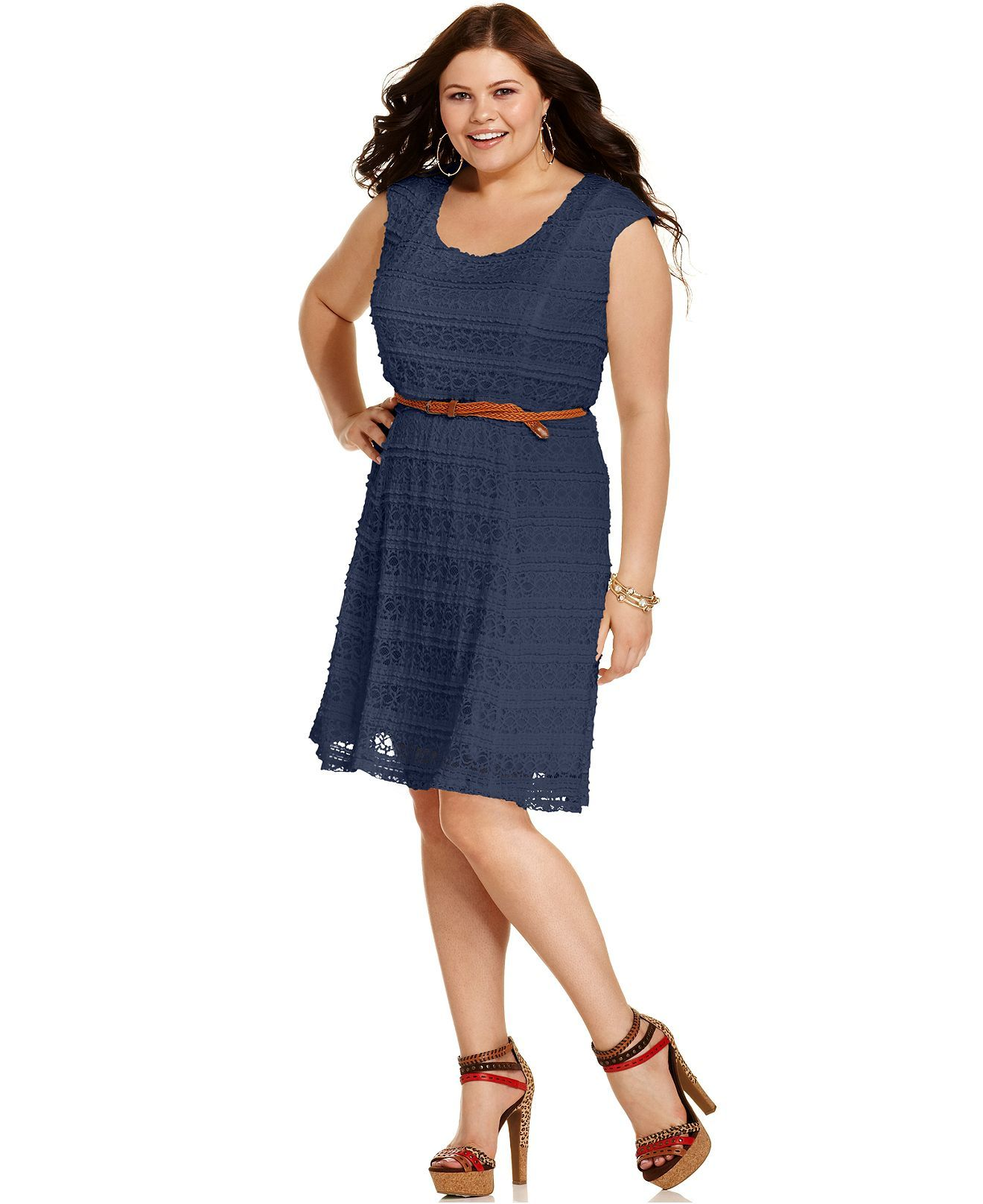 trixxi plus size dress, cap-sleeve lace belted a-line - plus size